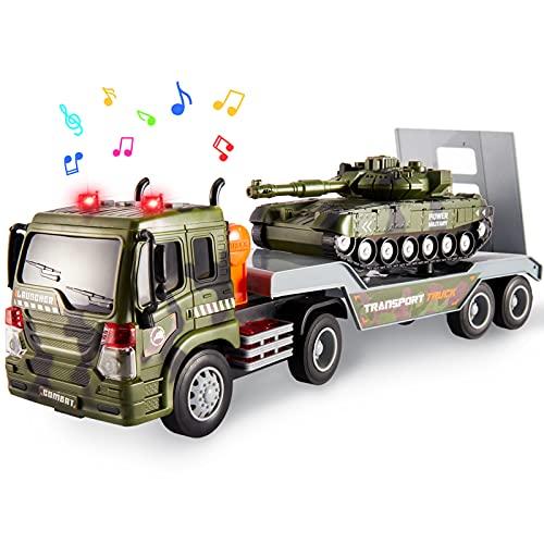 HERSITY Veicoli Militari Bisarca Giocattolo Camion Trasportatore con Carro Armato Bambino Giochi Macchinine con Luci e Suoni Regalo per Bambini 3 4 5 Anni Maschio Femmina