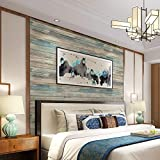 practicalWs Blue Distressed Wood Peel and Stick Wallpaper 17.71' Wide x 236.2' Long