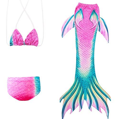Meisjes zeemeerminstaart om mee te zwemmen met zeemeerminstaart badpak voor kinderen zwemmen prinses cosplay badmode voor het zwemmen met bikini-set Bunt 140