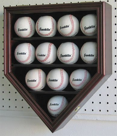 12 Baseball Display Case Holder Cabinet-UV Protection and Lock -Mahogany Finish (B12-MA)