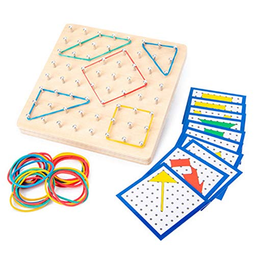 BLUEBEE Legno Matematica manipolativo Matrix Materiale didattico, Giocattolo educativo per i Bambini con Gli Elastici e schede per Creare Modelli e Forme per prescolare aule con Il Sacchetto