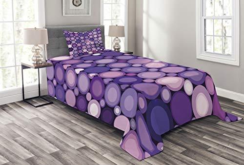 ABAKUHAUS Modern Tagesdecke Set, Geometrische Violet Kreise, Set mit Kissenbezug Weicher Stoff, für Einselbetten 170 x 220 cm, Baby Pink Lila Lila