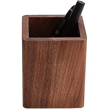 ペンスタンド 木製 ペン立て シンプル ぺんたて 天然木 無垢 木目 高級感 デザイン 鉛筆立て 卓上収納(クルミの木)) (ブラック)