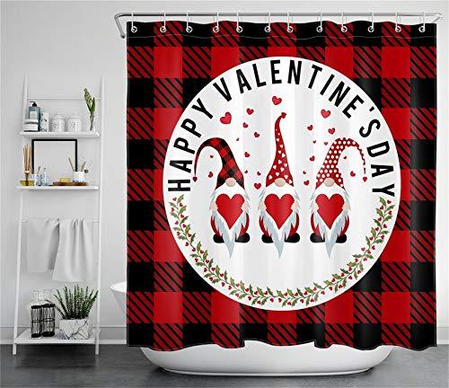 ECOTOB Happy Valentine's Day Duschvorhang für Badezimmer, Valentinstag Zwerg mit Herz auf schwarz & rot kariertem Plaid Hintergr& Stoff Badezimmer Dekor Set mit Duschvorhanghaken, 183 x 183 cm