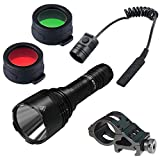 NITECORE New P30 Flashlight (Battery Included) w/RSW3 Pressure Switch, Offset Mount, & Red and Green Color Filters