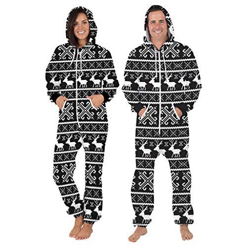 MINIKIMI Jumpsuit Herren Damen Weihnachten Onesie Lustige 3D Rentier Druck Jogging Trainingsanzug Overall Mit Kapuze Ugly Christmas Zip GanzköRperanzug Unisex (XL, Schwarz)