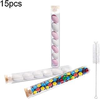 NACTECH 15 pcs Tubo de Ensayo de Plastico con Tapon de Corcho 30 ml Tubos de Ensayo Para el Arroz de Boda Caramelos de Boda DIY Personalizado y Invitados