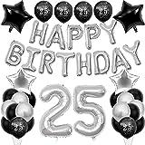 Set de decoración para 25º cumpleaños, para hombre, color negro y plateado, número gigante XXL, 100 cm, globos impresos con 25 globos, pancarta de cumpleaños para niñas y niños