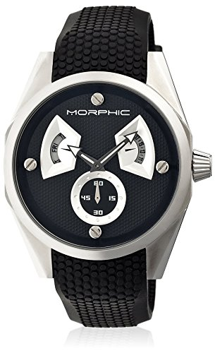 Morphic Men's MPH3402 M34 Series Black/Black/Silver Silicone Watch
