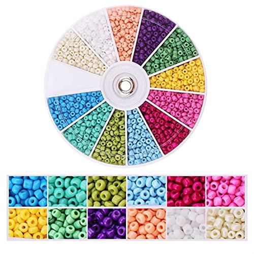 Joyas haciendo kits de cuentas Cuentas de semillas de vidrio para la joyería que fabrican perlas de cintura de 2 mm Kit 12 colores Pequeñas cuentas con 1 rollos de cristal y 1 pinzas para el collar An