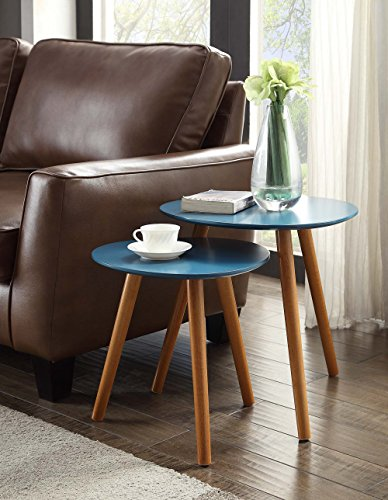 Convenience Concepts Oslo Nesting End Tables, Blue / Natural