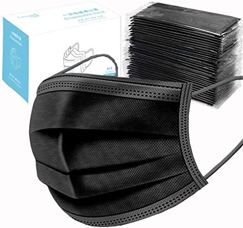 Disposable  Individual Package of 50 Piece, 4-Ply Activated Carbon Anti Dust  Unisex Disposable Earloop Mouth Face , One Size to Fit Most (Black 50pcs)