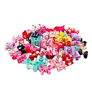 JpGdn 50Pcs Valentine's Day Small Dogs Hair Bows Puppy Hair Bow Ties with Rhinestone for Doggy Cat Kitten Rabbit Medium Pet Hair Flowers Bowknot Topknot Pink Red Grooming Accessories Attachment