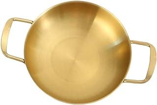Hemoton Paellera de Acero Inoxidable de 18 Cm Sartén Antiadherente de Grado Restaurante con Asas Dobles (Dorado)