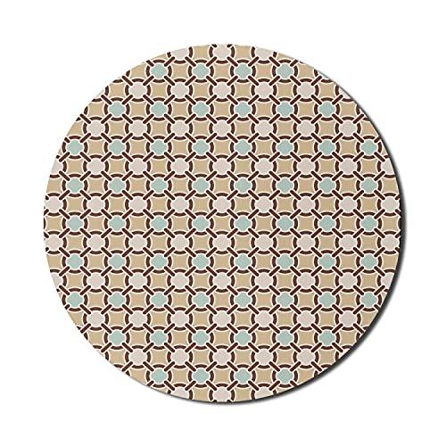 Abstraktes Mauspad für Computer, Blumenmotivketten-Netzmuster Altmodisches Fliesen-kreisförmiges Design, rundes rutschfestes dickes Gummi-modernes Gaming-Mousepad, 8 'rund, sandbraunes Babyblau