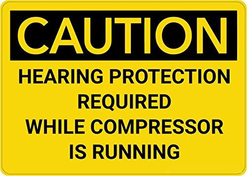 Mesllings Veiligheidswaarschuwing Metalen bord Let op: Gehoorbescherming Vereist Wanneer Compressor draait 10