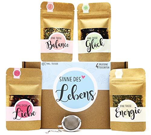 Sinne des Lebens Tee Geschenk-Box mit 4 verschiedene Sorten Tee und Tee-Ei Geschenkidee für mehr Ausgeglichenheit