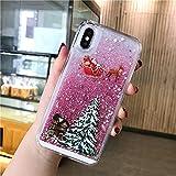 LUOKAOO Funda de teléfono Liquid Quicksand Christmas para iPhone XR X XS MAX 6 6S 7 7Plus 8 8Plus Bling Funda rígida Transparente para PC, T3, para iPhone X