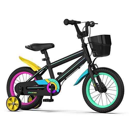 PHOENIX 子供用自転車 男の子女の子 12インチ 14インチ 16インチ 18インチ 20インチ 簡単に安装 補助輪付き 幼児自転車 ジュニアバイク 2/3/4/5/6/7/8/9/10/11/12歳 滑り止めハンドル 高さ調節可能 (16 インチ,
