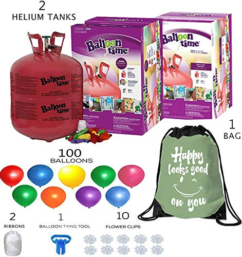Balloon Time Disposable Helium Tank 14.9 (2 Boxes) - 100 Latex Party Balloons – Plus Drawstring Backpack Bag and...