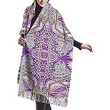 Elaine-Shop Bufanda para mujer Alfombra persa Bufanda clásica a cuadros con borlas Bufanda cálida de otoño e invierno