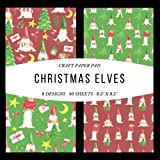 Craft Paper Pad Christmas Elves 8.5x8.5 Craft Paper, 4 Designs, 20 Sheets: Origami Vintage Flowers Pattern Scrapbooking Cardmaking Craft DIY Die Cuts ... Album for Kids Party Christmas Greeting Cards