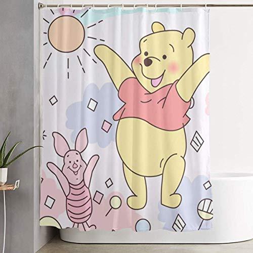 NHUXAYH Duschvorhang Winnie The Pooh Kunstdruck, Badezimmerdekorationssammlung aus Polyestergewebe mit Haken 60X72 Zoll