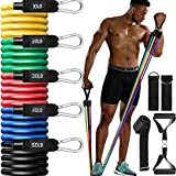 CLEEBORG Resistance Bands Set, Pull Rope Set Exercise Bands Set Men Home Workouts with Fitness Tubes, Foam Handles, Resistance Bands Exercise Elastic Pull Ropes for Indoor Strength Training(150LB)