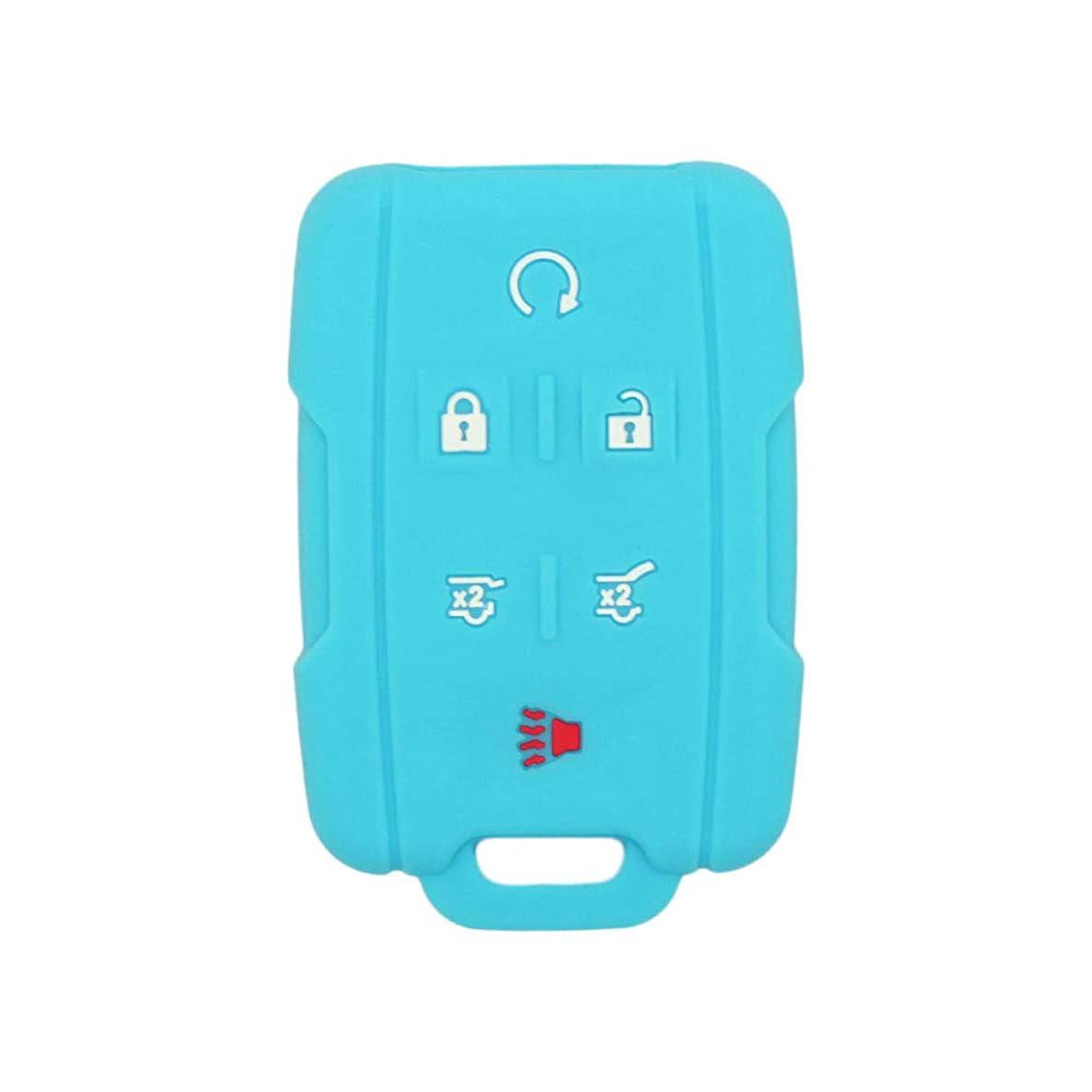 SEGADEN Silicone Cover Protector Case Skin Jacket fit for CHEVROLET CADILLAC GMC 6 Button Remote Key Fob CV2600 Light Blue