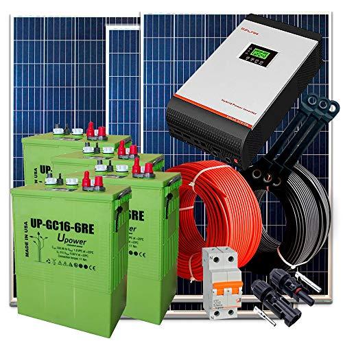 Kit Solar 24v 1.200W / 6.000W Día + 4 Paneles + 4 Baterías UP-GC16 600Ah + Inversor Multifunción 3kva con Regulador PWM 50A