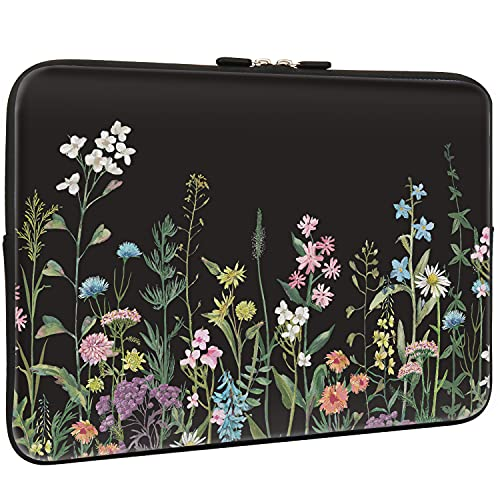 Lapac Black Floral Laptop Sleeve Bag 13-13.3 Inch, Water Repellent Neoprene Light Weight Computer Skin Bag, Flower Pattern Notebook Carrying Case Cover Bag for 13/13.3 Inch MacBook Pro, MacBook Air