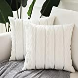 Decorative Jacquard Wave Cushion Cover, 2 Pack Velvet Pillow Cover Sham Cushion Covers, Sofa Couch Bedroom Throw Pillow Cases, Square Pillowcase-White 18' x 18'