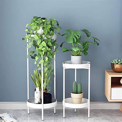 Opvouwbare Flower Stand, Metal ingemaakt installatie plat scherm, met verhogen de lade, waterdicht en antitrust, voor Indoor Outdoor Garden Decoration,White