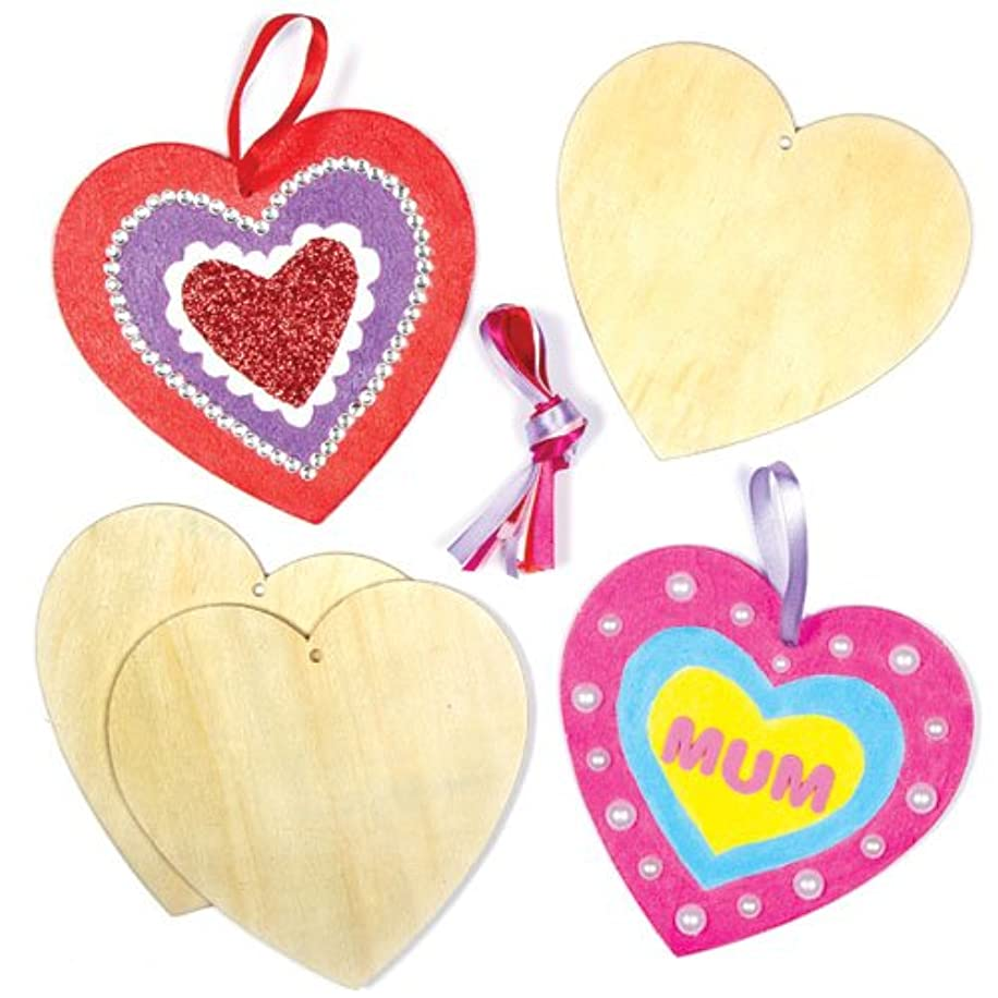 Baker Ross Heart Wooden Hanging Decorations for Children to Design Paint and Decorate for Valentine's or Mother's Day (Pack of 8)