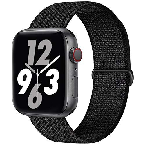 Qunbor Cinturino Compatibile con Apple Watch 38mm 40mm 42mm 44mm per iWatch Series 6 5 4 SE 3 2 1 Edition, Sport Nylon Intrecciato Loop Tessuto Regolabile Ricambio Flessibile Stoffa, Laser Nero
