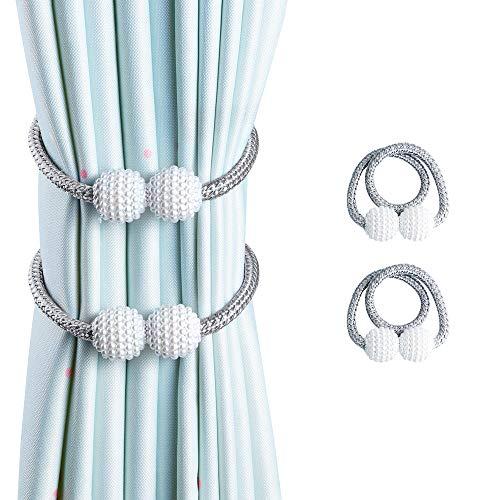 OTHWAY Vorhang Raffhalter Magnetisch, 2 Stück Vorhanghalter Elegante Perlenperle Holdbacks Gardinenklammern mit Starken Magnet (Grau, 2 Stück)