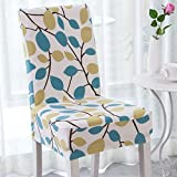 Enova Home Modern Elegant Polyester and Spandex Stretch Washable Removable Dining Chair Slipcover, Soft and Stretchy Slipcover (1, Season Flower)