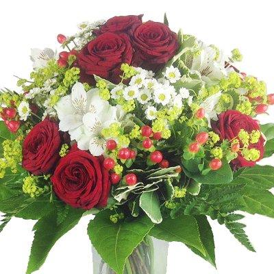 Premium Blumenstrauß rot - weiß - Blumenversand Rosenbote