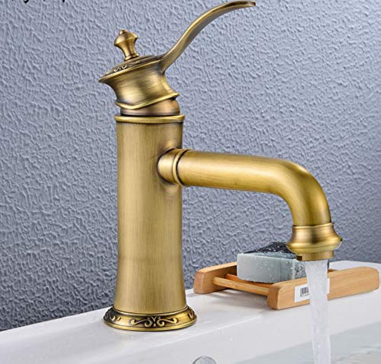ROKTONG Faucet Antique Faucet Copper European Faucet Hot And Cold Wash Basin Single Hole Carved Faucet, A