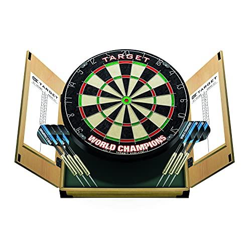 Target Darts Weltmeisterschafts Dartboard in einem Heim-Kabinett mit Zwei Darts-Sets, Hellbraun, Standard