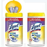 Lysol Dual Action Disinfecting Wipes w. Scrubbing Texture, 150ct (2X75ct) (Pack of 2)
