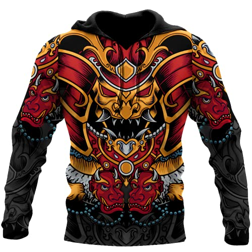 Impresión 3D Japón Harajuku Samurai Armor Tattoo Hoodies Casual Pullover,Hoodie,3XL