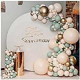 ZHMIAO Kit de arco para globos, 117 unidades, color verde y naranja, arco de metal para niños, baby shower, decoración de cumpleaños