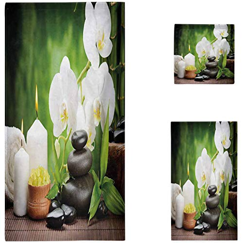 Nomorer Spa 3 Piece Towel Set, Zen Stones with Orchid and Candles Green Plants at The Background Print Bathroom Beach Sheet, White Green and Black
