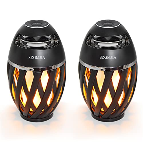 2-Pack Led Flame Speakers, SZGMJIA Flame Torch Atmosphere Speaker Bluetooth 4.2 Wireless Portable Outdoor HD Audio Waterproof Speaker with LED Flickers Warm Night Lights for iPhone/iPad/Android