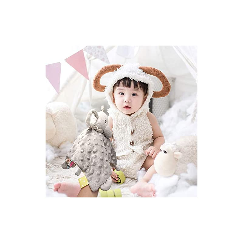 crib bedding and baby bedding loveys for babies elephant baby security blanket, soft dot fabric lovey blanket with colorful pattern backing, taggie stuffed animal snuggler blanket, stuffed plush cuddle newborn blankie