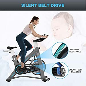 Exercise Bikes, Indoor Cycling Bike Stationary, Workout Bike for Home Cardio Gym with Tablet Mount, Heavy Flywheel and Steel frame Stability Safety,Adjustable Seat Comfortable,Pulse Sensor and LCD Monitor