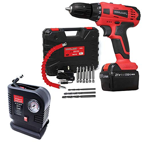 Toolman Led Lithium-ion Cordless Power Drill driver Kit 21V with Drill Set+250 PSI Portable Mini Air Compressor Tire Inflator Pump for balls, Bicycles, Motorcycles, cars ZTP009Q36