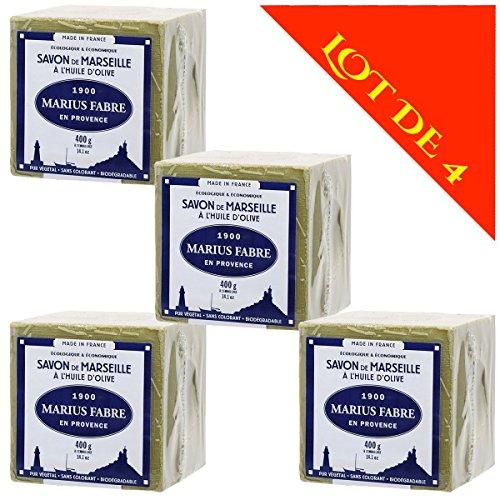 Lot de 4 savons de MARSEILLE à L'HUILE D'OLIVE - Cubes de 400g - Marius Fabre