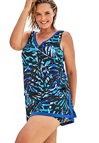 Swimsuits For All Women's Plus Size 2-Piece Swim Skirtini Set - 26, Blue Painterly Leaves